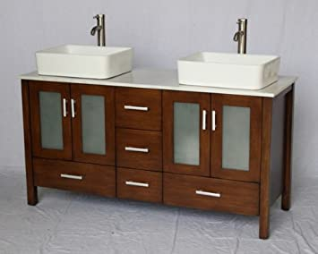 58u0026quot; Inch Walnut Brown Wood Double Sink Bathroom Vanity With White  Marble Stone Top And