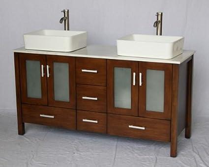 58 Inch Walnut Brown Wood Double Sink Bathroom Vanity With White