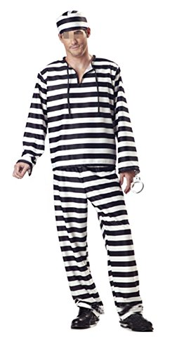 Adult Striped Prisoner Costume Black White Long Sleeved Uniform Halloween (Black And White Halloween Costumes For Men)