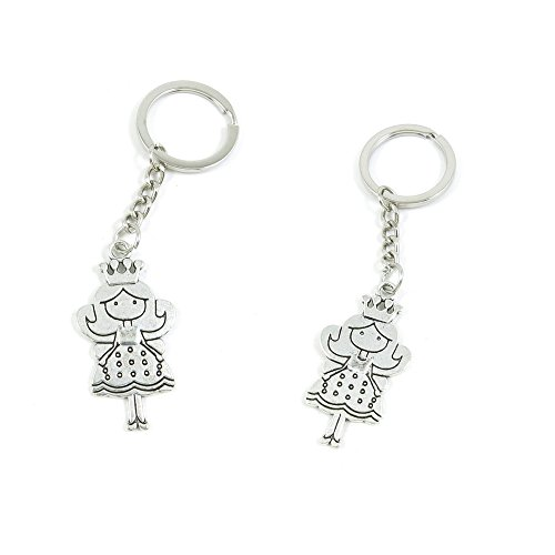 100 PCS Princess Keychain Keyring Jewelry Making Charms Door Car Key Tag Chain Ring S4QV3E by ChinaTownUS