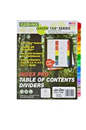 Kleer-Fax 11 x 9 x 3/20 Inches, 12 Tab - January Through December, Index Pro - Table of Contents Dividers, One Set, Assorted Colors (71112)