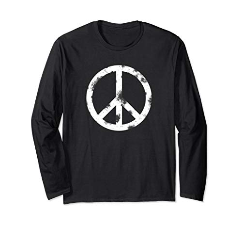 Distressed Hippie Peace Sign T-Shirt White Vintage Hippy