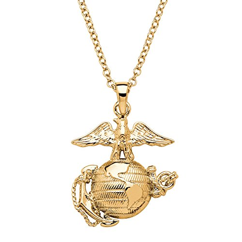 Palm Beach Jewelry 14K Yellow Gold-Plated Marine Corp Pendant Necklace with Cable Chain, -