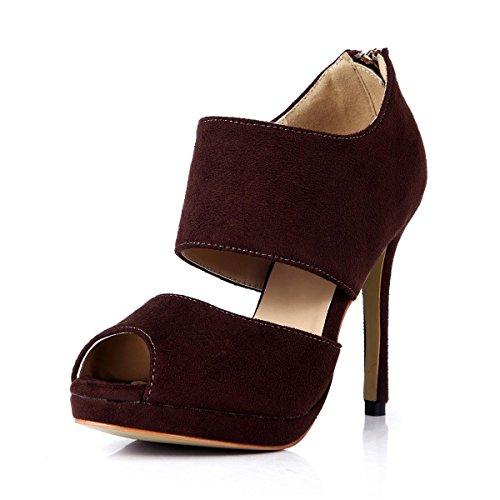 Best 4U® Sandali estivi da donna in velluto elasticizzato con punta aperta 12cm tacchi alti con suola in gomma con cerniera pumps rosso vino