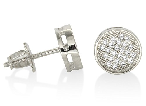 Round 8mm Silver Plated AAA Micro Pave Cz Hip Hop Bling Screw On Earrings (Silver)