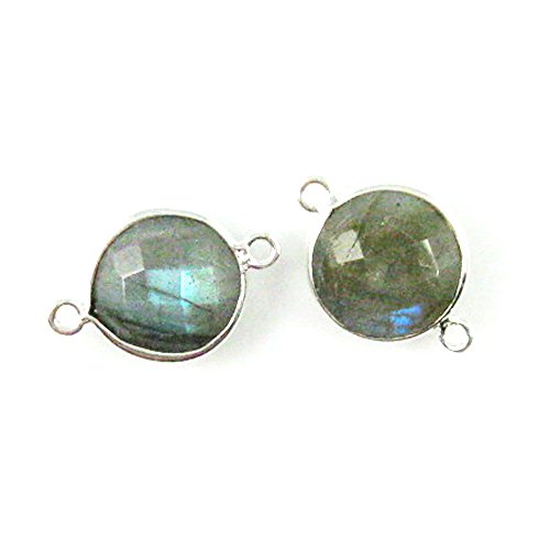 Bezel Gemstone Connector - Sterling Silver - 12mm Faceted Coin Shape Charm - Labradorite (Sold Per 2 Pieces)