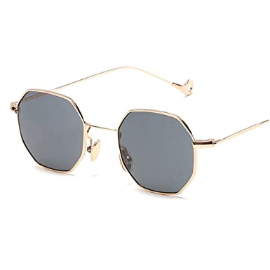 fcb5f6d9732 WELUK 2017 New Octagon Sunglasses Ladies Summer Polygon Square Sun Glasses  Metal Frame Women Men Plain Glasses (Gold Frame Grey Lens)  Amazon.co.uk   ...
