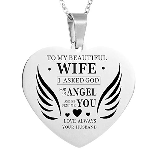 MOONQING Love Piece Pendant Necklace Lettering Love Always Angel Wings Punk Style Necklace, Silver