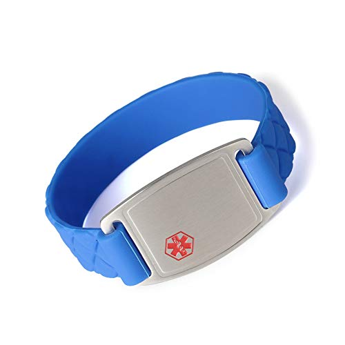 Medical Alert ID Bracelet Sports Blue Silicone Band Stainless Steel Tag for Women Men Kids Free...