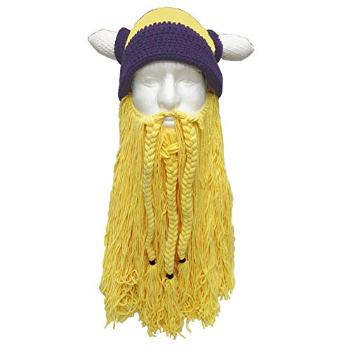 Viking Hat with Removable Beard Knitted Novelty Hat -