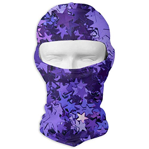 O-X_X-O Balaclava Windproof Ski Face Mask Winter Motorcycle Neck Warmer Balaclava Polyester for Women Men Youth Snowboard Cycling Hat Outdoors Helmet Liner Purple_foil_Stars Mask