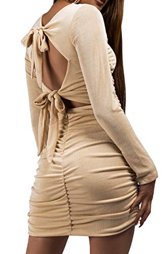 AKIRA Women's Slinky Ruched Long Sleeve Two Ties Open Back Ruched Butt Bodycon Sexy Mini (Slinky Open Back Dress)