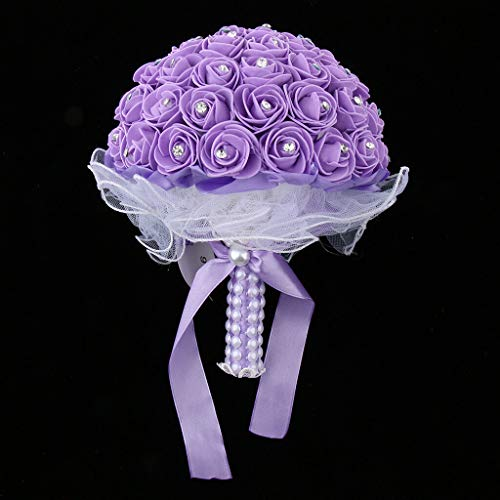 (BROSCO Wedding Bridal Bouquet Crystals Pearls Lace Tulle Foam Roses Hand Flower | Color - Purple)