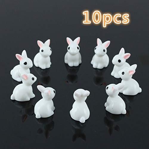Miniature Figurines Lovely Mini Rabbit 10Pcs Ornaments Plant Pot Home Decorations Landscape Mini Resin Statue Resin DIY Craft Figurine (Green)
