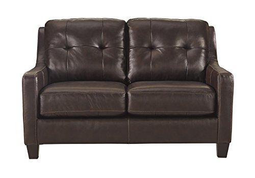 Ashley Furniture Signature Design - O'Kean Contemporary Leather Upholstered Tufted Back Loveseat - Mahogany