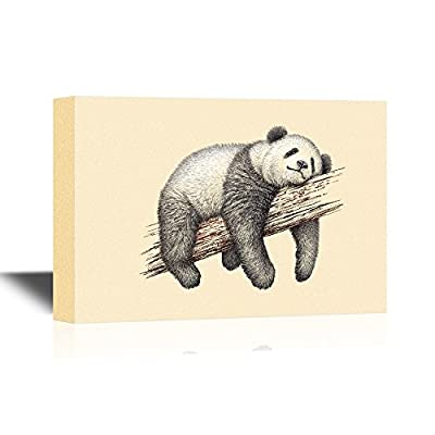Canvas Wall Art - Panda Laying on a Tree Branch Lazily - Gallery Wrap Modern Home Art | Ready to Hang - 12x18 inches