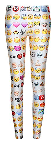 [Women's Unique Funny Emoji Print White Christmas Party Costume Leggings One Size] (Cute Unique Costumes)