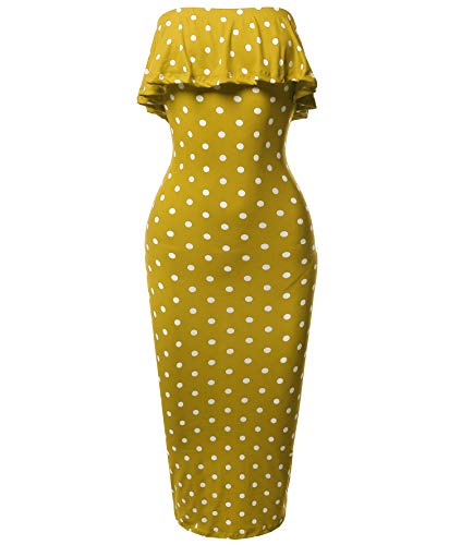 (Made by Emma Solid or Patterned Off-Shoulder Crepe Tube Midi Dress Mustard Polka Dot S)