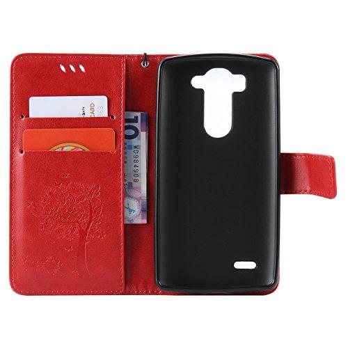 OuDu Funda LG G3 Mini/G3 S Carcasa de Billetera Funda PU Cuero para LG G3 Mini/G3 S Carcasa Suave protector con Correas de Teléfono Funda Arbol Flip Wallet Case Cover Bumper Carcasa Flexible Ligero Ul