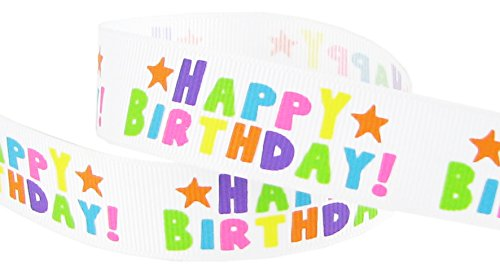 "Happy Birthday Ribbon, Hipgirl 5 Yards 7/8"" Grosgrain Fabric"