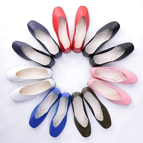 Stunner Women Retro Square Head Slip On Flat Ballet Shoes
