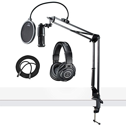 Audio-Technica AT2020 Microphone w/ATH-M40x Headphones, Knox Pop Filter & Boom Arm (Audio Technica At2020 Studio Condenser)