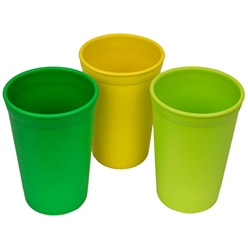 Re-Play Made in The USA 3pk Drinking Cups for Baby and Toddler - Yellow, Green, Kelly Green (Stem)