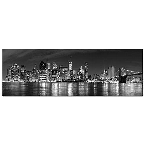 Wieco Art - New York Manhattan Night View in Black and White Giclee Canvas Prints Modern Stretched and Framed Art work Cityscape Pictures Paintings on Canvas Wall Art for Bedroom Home Decorations
