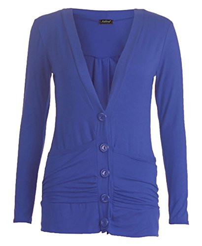 Ruch Longues Top S Dames Royal Fashions Blue Bouton Femmes Cardigan Manches 3XL Boyfriend M Poches Islander Pull PB8ExH