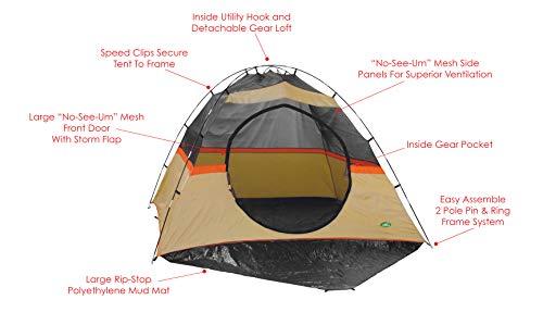 Texsport Bison Creek Vestibule Sport Tent, Avocado/Taos Taupe/Orange Pop