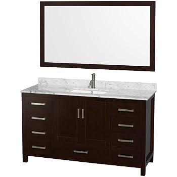 Wyndham Collection Sheffield 60 Inch Single Bathroom Vanity In Espresso,  White Carrera Marble Countertop,