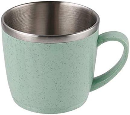 Vasos de acero inoxidable para niños y adultos, reutilizables, para niños y adultos, para niños en interiores y exteriores, elementos de trigo multicolor, 220 ml (verde)