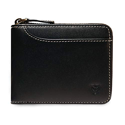 RFID Men's Leather Zipper wallet Zip Around Wallet Bifold Multi Card Holder Purse (2 ID Windows Black)