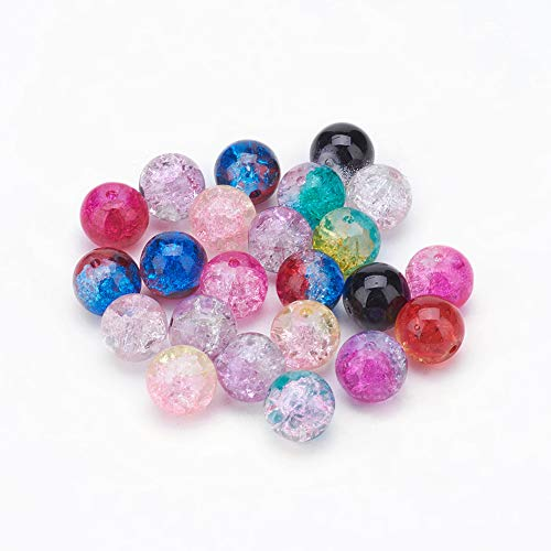 (Craftdady 100Pcs Random Mixed Colors Two Tone Crackle Glass Tiny Round Spacer Beads 10mm for DIY Jewelry Craft Making with 1.3mm Hole)