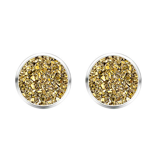Stone Round Post (MissNity Women Chic Simulated Druzy Stud Earrings Silver-Tone Plated Gold Sparkly Hypoallergenic Posts Fashion Jewelry for Keen Girls (A001))