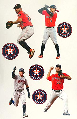 FATHEAD Houston Astros Mini Graphics Team Set 4 Players + 4 Astros Logo Official MLB Vinyl Wall Graphics Each Player 7