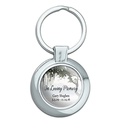 Graphics and More Personalized Custom in Loving Memory Willow Tree Memorial Classy Round Chrome Plated Metal Keychain