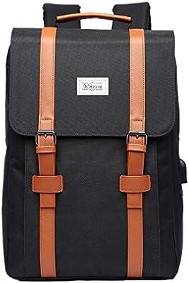 mochila universitaria portátil mochila portátil de 15 pulgadas mochila de viaje portátil con puerto de carga USB para hombres y mujeres (Black)