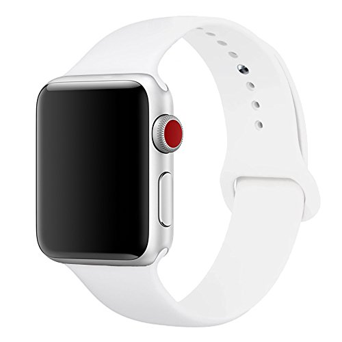 Large Product Image of SIRUIBO Band for Apple Watch 38mm, Soft Silicone Sport Strap Replacement Bracelet Wristband for Apple Watch Series 3, Series 2, Series 1, Nike+, Edition, White S/M Size