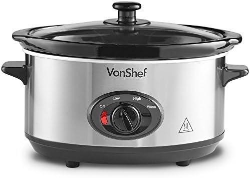 VonShef Mijoteuse électrique 3,5 L Acier Inoxydable - Autocuiseur basse température - Plat en céramique amovible avec couvercle en verre - Slow Cooker