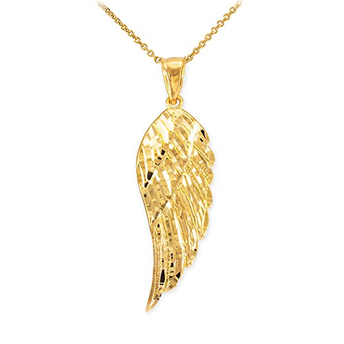 Religious Jewelry by FDJ Textured 14k Yellow Gold Angel Wing Charm Pendant Necklace, ()