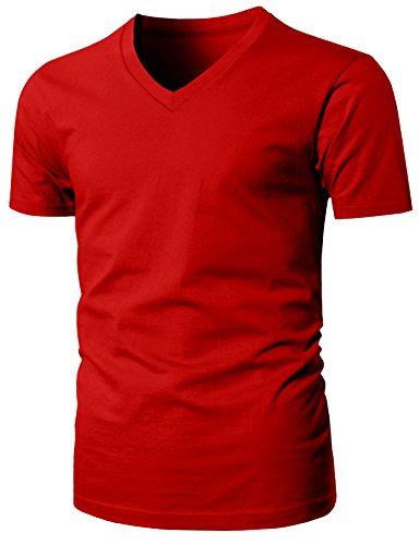 H2H Men's 3-Pack Cotton Classics Slim-Fit V-Neck T-Shirt Red US S/Asia M (KMTTS0481)