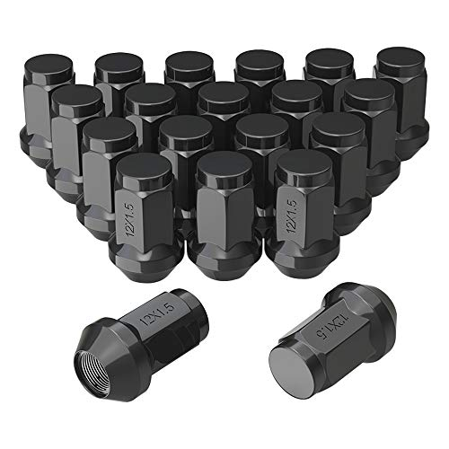 "YITAMOTOR Lug Nuts 12x1.5 Black, m12x1.5 Bulge Acorn Wheel Lug Nuts Cone Seat 1.38"" Tall 3/4"" Hex Compatible for Acura Cadillac Chevrolet Ford Honda Kia Lexus Lincoln Mazda Mitsubishi Pontiac Toyota"