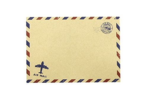 BeeChamp 50pcs Open End Vintage Invitation Envelopes Airmail Stationery (Brown) Photo #5