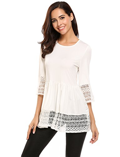 Zeagoo Women Fashion 3/4 Sleeve Boho Lace O-Neck Sleeves Blouse Top T Shirts White XXL