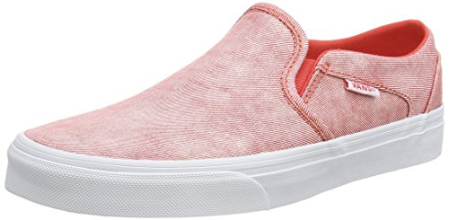 Vans WoMen W Asher Washed Low-Top Sneakers Rot ((Washed Canvas) Cayenne)