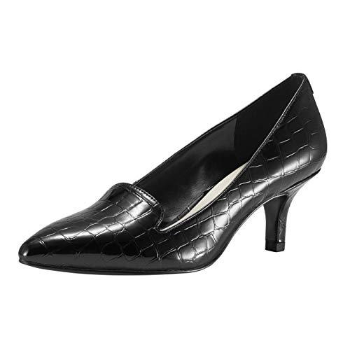 JENN ARDOR Women'sLow Kitten Heel Pumps Pointed Toe Slip On Dress Party Office Pumps Black 6 M US
