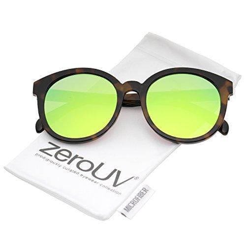 zeroUV - Oversize Super Flat Colored Mirror Lens Round Sunglasses 54mm (Tortoise / Yellow - Sunglasses Spektre