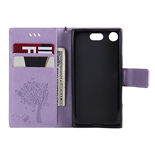 Funda Sony Xperia XZ1 compact, SsHhUu Funda PU Piel Genuino [Ranuras para Tarjetas] [Cierre Magnetico] con Lápiz óptico + Acollador para Sony Xperia XZ1 compact (4.6) Café Lavanda