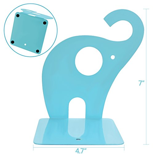 Dxhycc 1pair Cute Elephant Nonskid Bookends Art Bookend (Blue)
